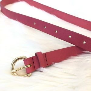 J Crew Pink Leather Skinny Belt Gold Buckle Small